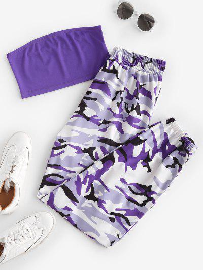 Bandeau Top And Camo Jogger Pants Set - Purple S