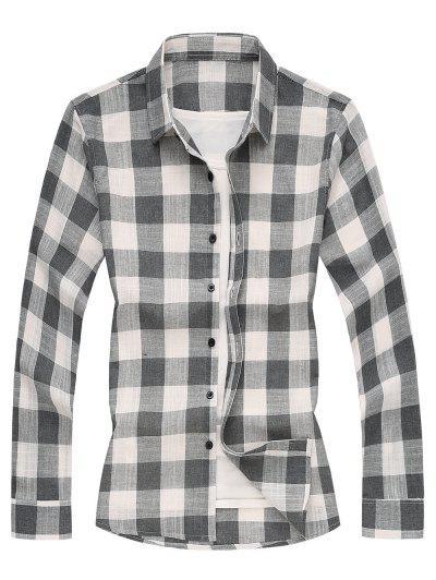 Long Sleeves Checked Casual Shirt - Gray Xl