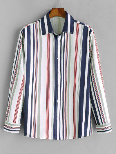 Vertical Striped Print Long Sleeve Casual Shirt - Midnight Blue S