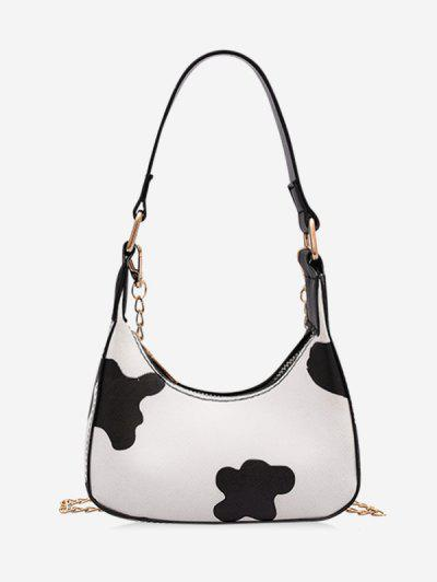 Cow Print Half Moon Chain Sling Bag - White 15.000x 10.000x 5.000cm