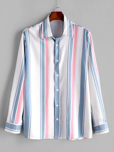 Long Sleeve Striped Print Casual Shirt - Blue Koi Xl