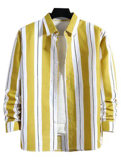 Stripes Color Blocking Casual Shirt - Yellow L
