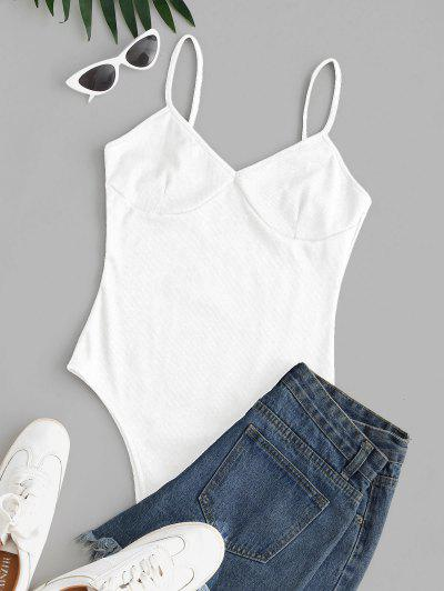 Ribbed High Cut Cami Bodysuit - White S