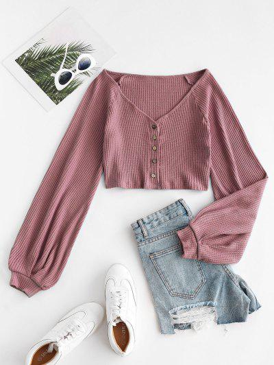 Knit Voluminous Sleeve Cropped Cardigan - Light Pink L