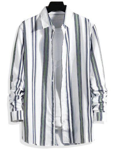 Striped Pattern Long Sleeve Shirt - Light Gray Xs