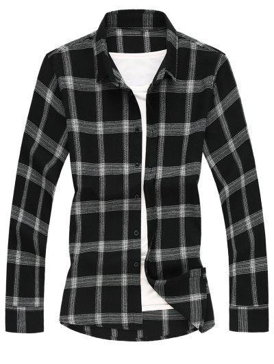 Long Sleeves Two Tone Plaid Shirt - Black Xs