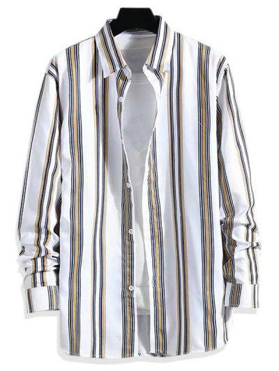 Striped Pattern Long Sleeve Shirt - Deep Yellow Xs