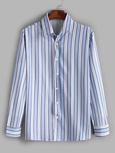 Vertical Striped Print Casual Shirt - Slate Blue L