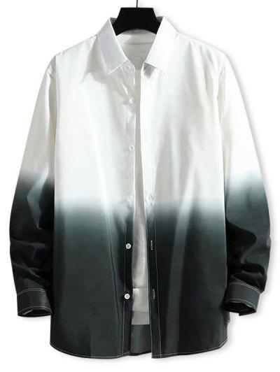 Camisa Ombre Impressão Com Botão E Mangas Compridas - Branco Xs