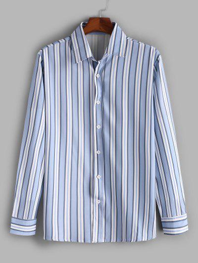 Vertical Striped Print Casual Shirt - Slate Blue M