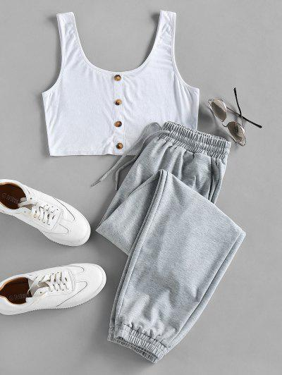 ZAFUL Crop Top And Drawstring Jogger Pants Set - Light Gray M