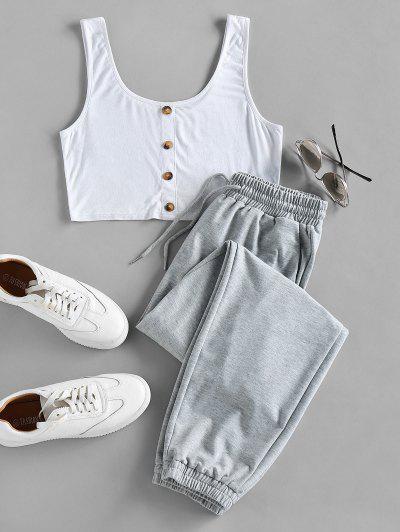 ZAFUL Crop Top And Drawstring Jogger Pants Set - Light Gray S