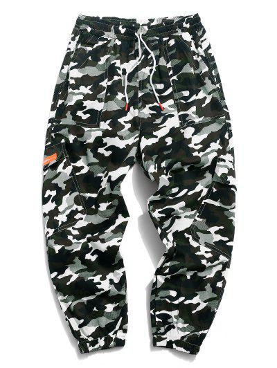 Camouflage Print Multi-pocket Lounge Cargo Pants - Green M