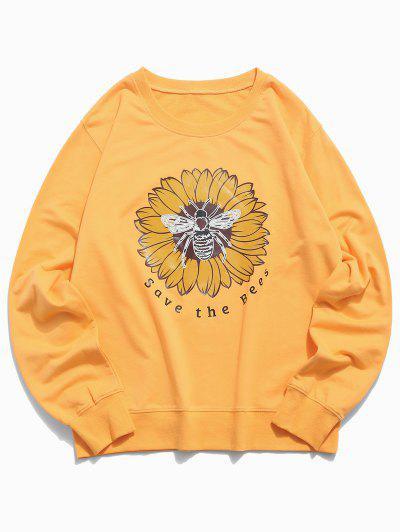 Floral Bee Graphic Lounge Crew Neck Sweatshirt - Yellow Xs