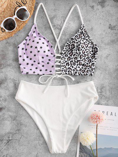 ZAFUL Leopard Star Lace-up Ribbed High Waisted Tankini Swimwear - Light Purple M