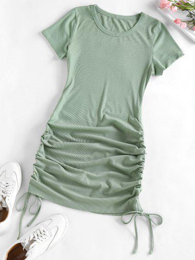 ZAFUL Ribbed Cinched Bodycon Mini Dress - Light Green M