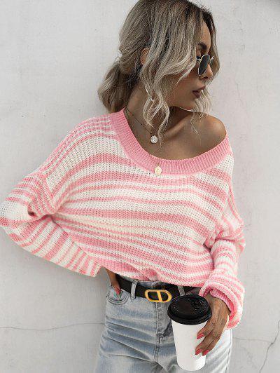 ZAFUL Striped Drop Shoulder Jumper Sweater - Multi L