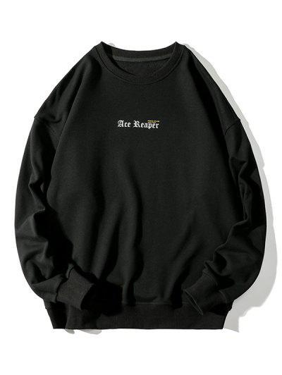 Letter Butterfly Print Rib-knit Trim Sweatshirt - Black 4xl