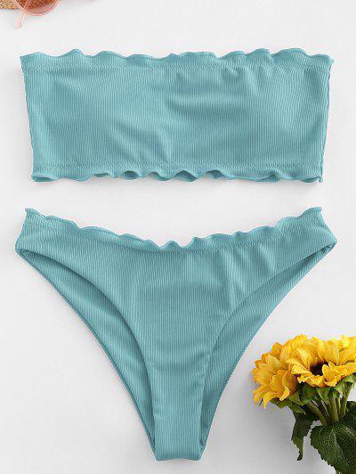 ZAFUL Ribbed Lettuce Trim Bandeau Bikini Swimsuit - Light Green M