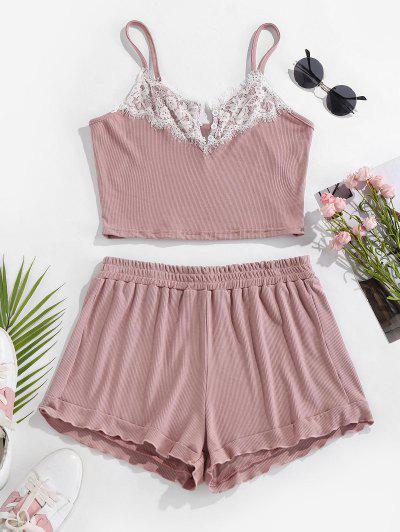 ZAFUL Conjunto De Pijama Con Shorts De Encaje De Pestaña - Rosa Claro L