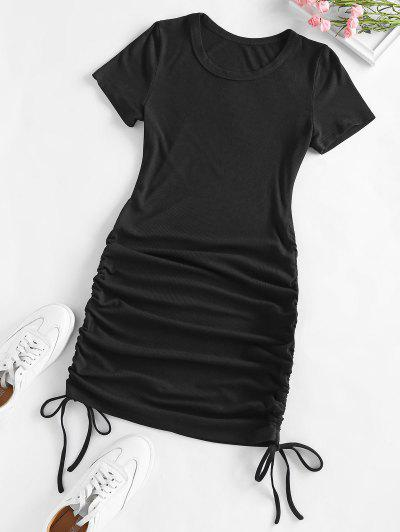ZAFUL Ribbed Cinched Bodycon Mini Dress - Black M