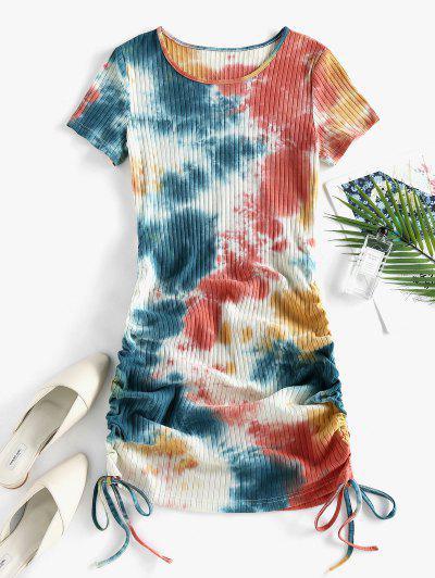 ZAFUL Cinched Tie Dye Ribbed Bodycon Dress - Light Orange L