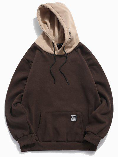 Color-blocking Letter Patch Detail Pouch Pocket Fleece Hoodie - Coffee M