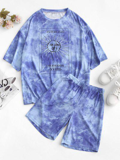 Tie Dye Sun Print Drop Shoulder T-shirt And Shorts Set - Blue L