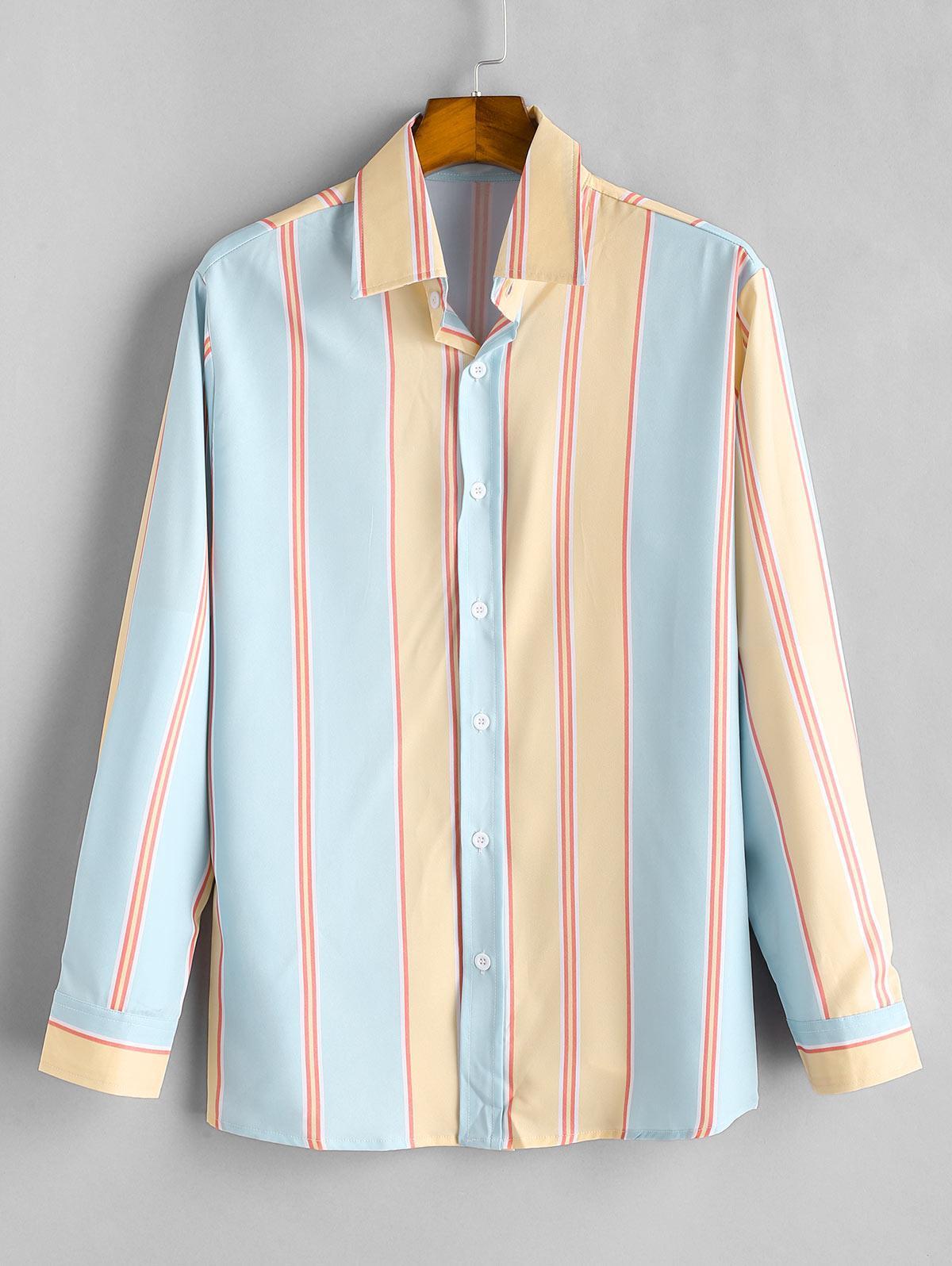 Button Up Contrast Stripe Print Shirt