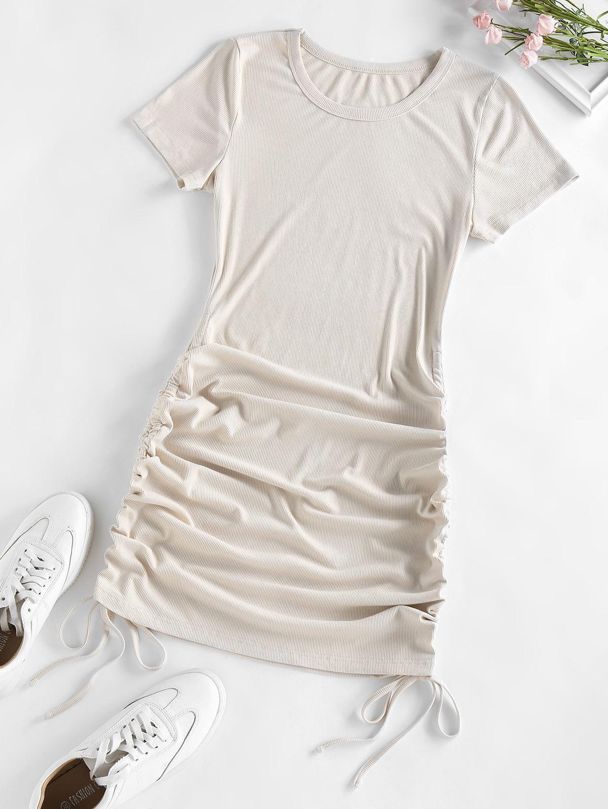 ZAFUL Ribbed Cinched Bodycon Mini Dress