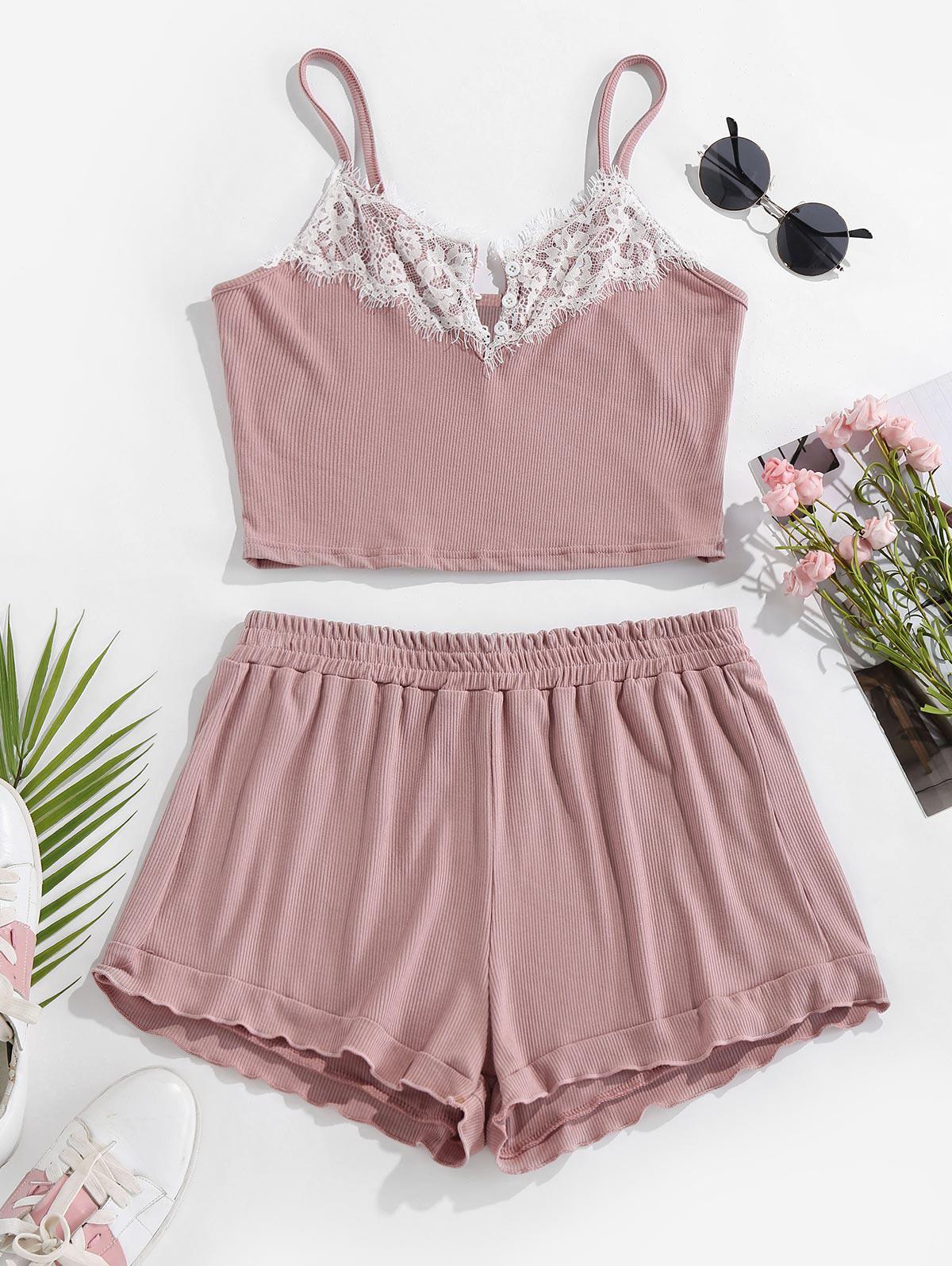 ZAFUL Lettuce Trim Eyelash Lace Shorts Pajama Set