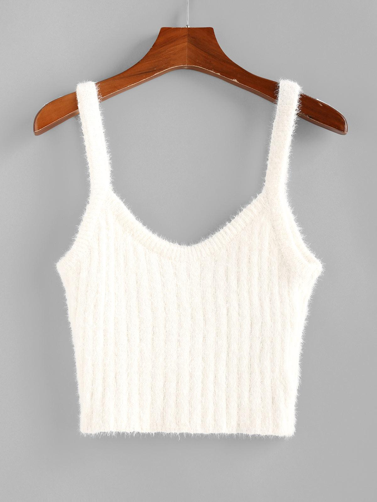 ZAFUL Fuzzy Knitted Crop Tank Top