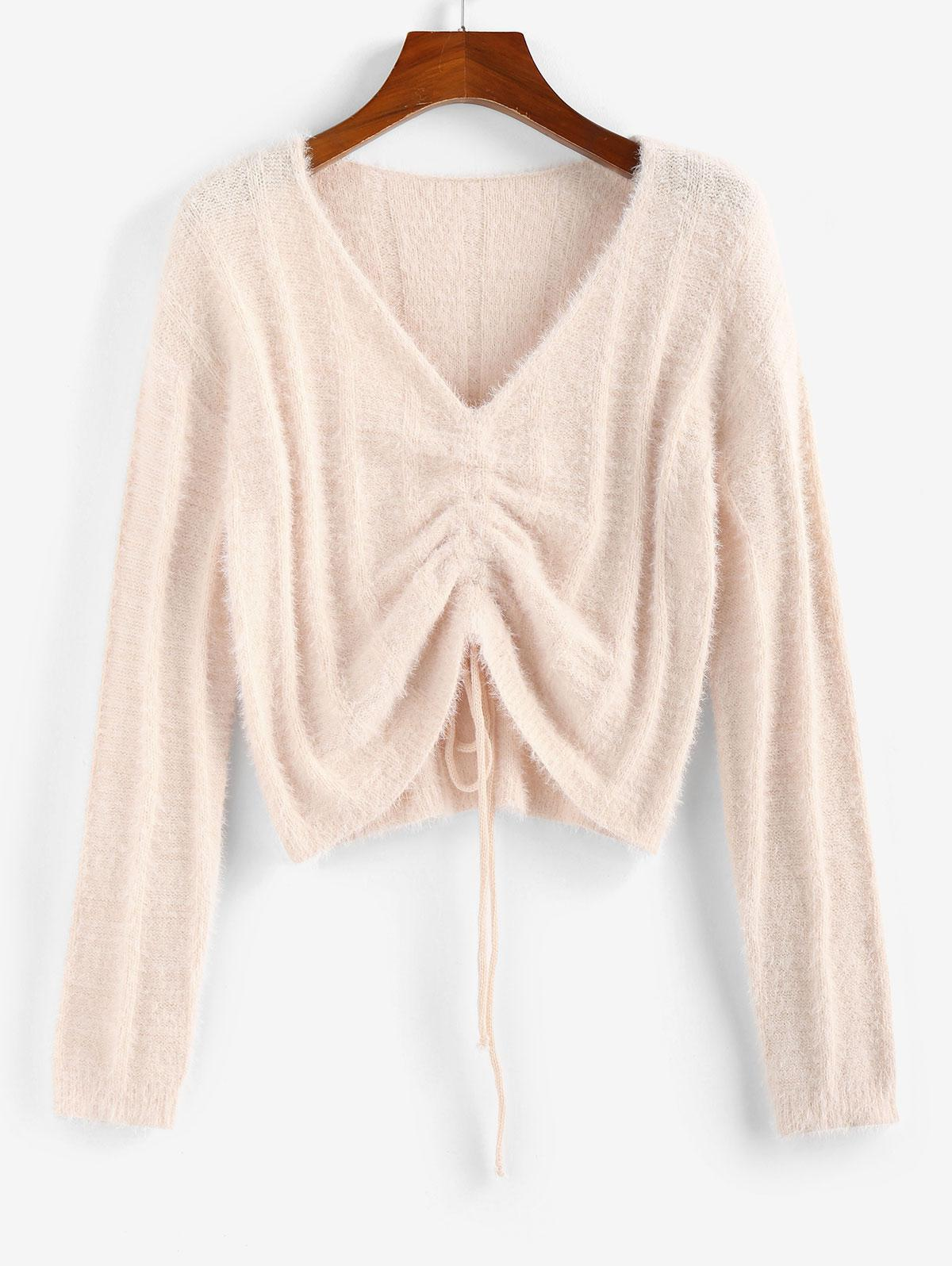 ZAFUL Fuzzy Cinched V Neck Jumper Sweater
