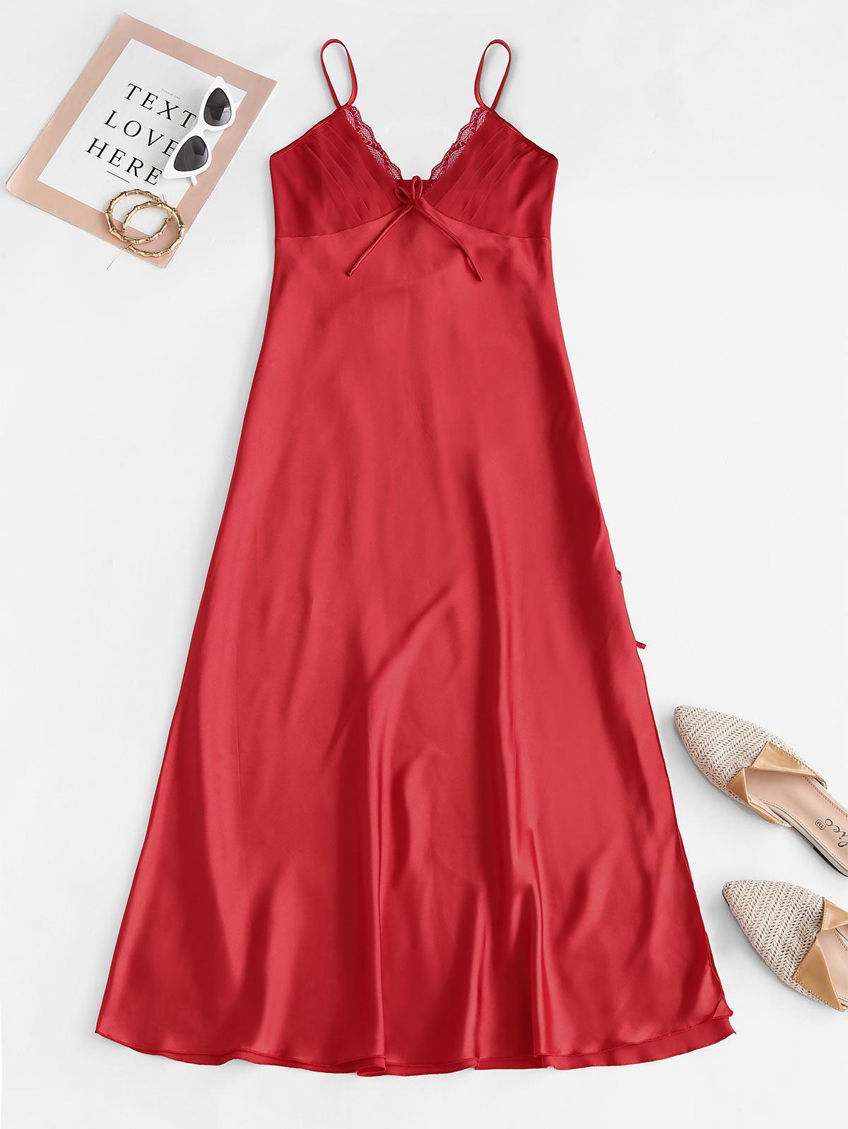 Pintuck Silky Lace Panel Satin Night Dress