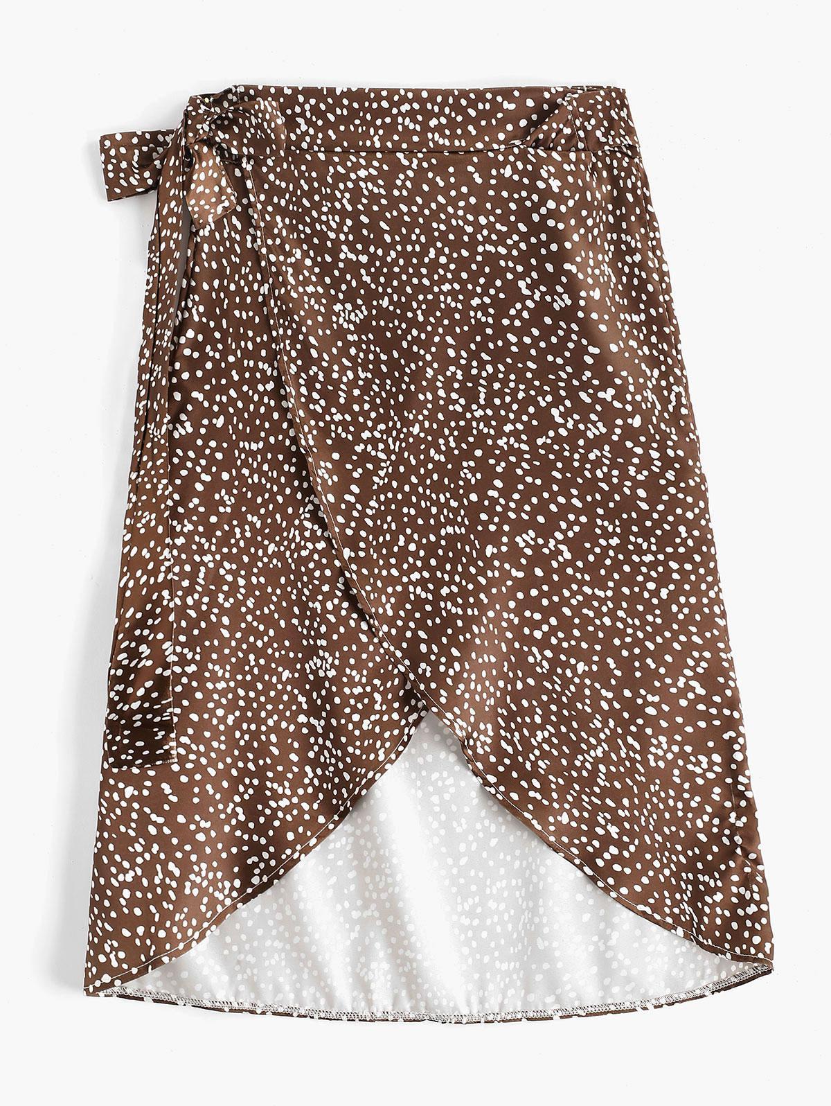 Dalmatian Dot Print Satin Wrap Skirt