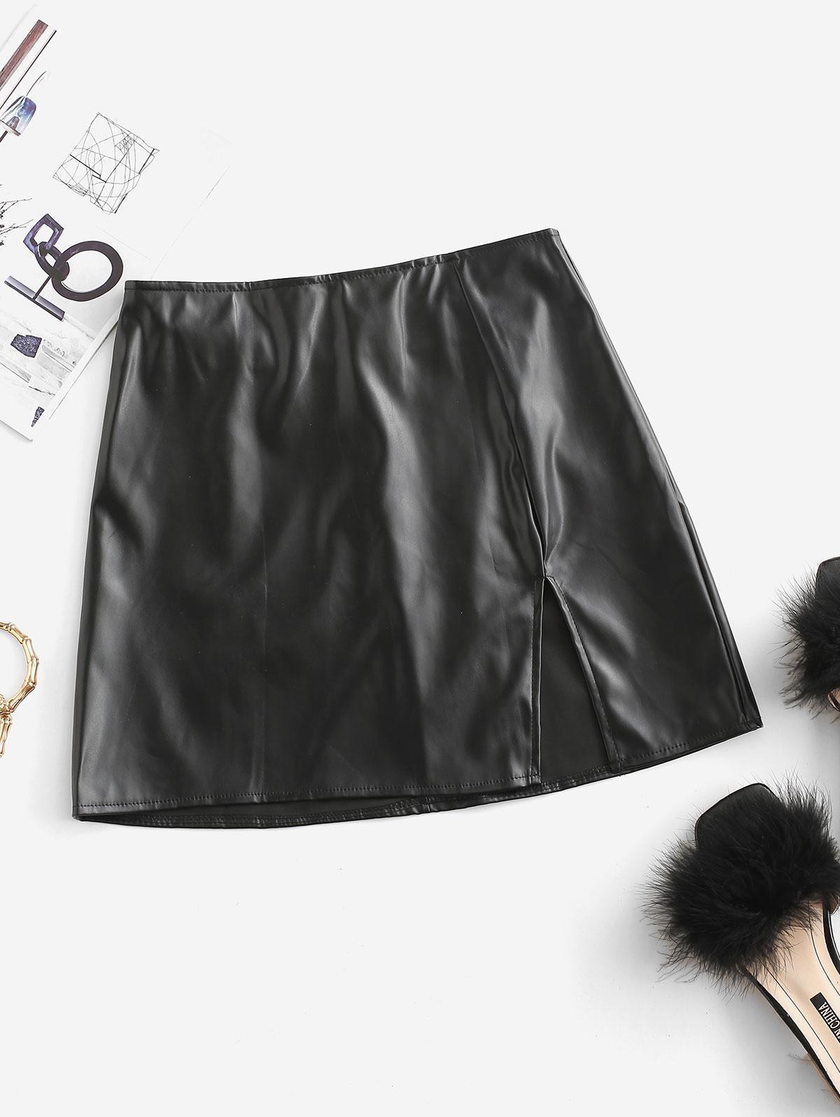 Slit Faux Leather Mini Skirt