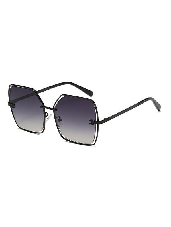 Square Frame Ombre Color Lens Retro Sunglasses