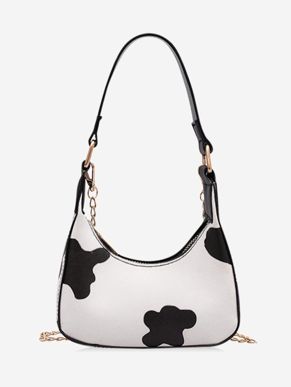 Cow Print Half Moon Chain Sling Bag