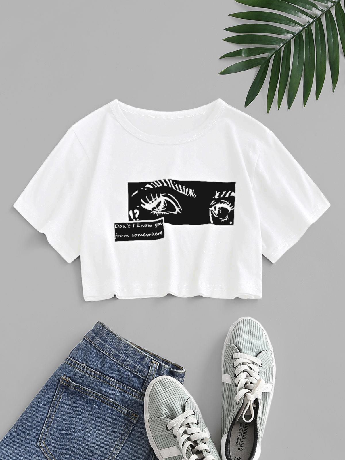Pop Art Slogan Eyes Print Crop T-shirt