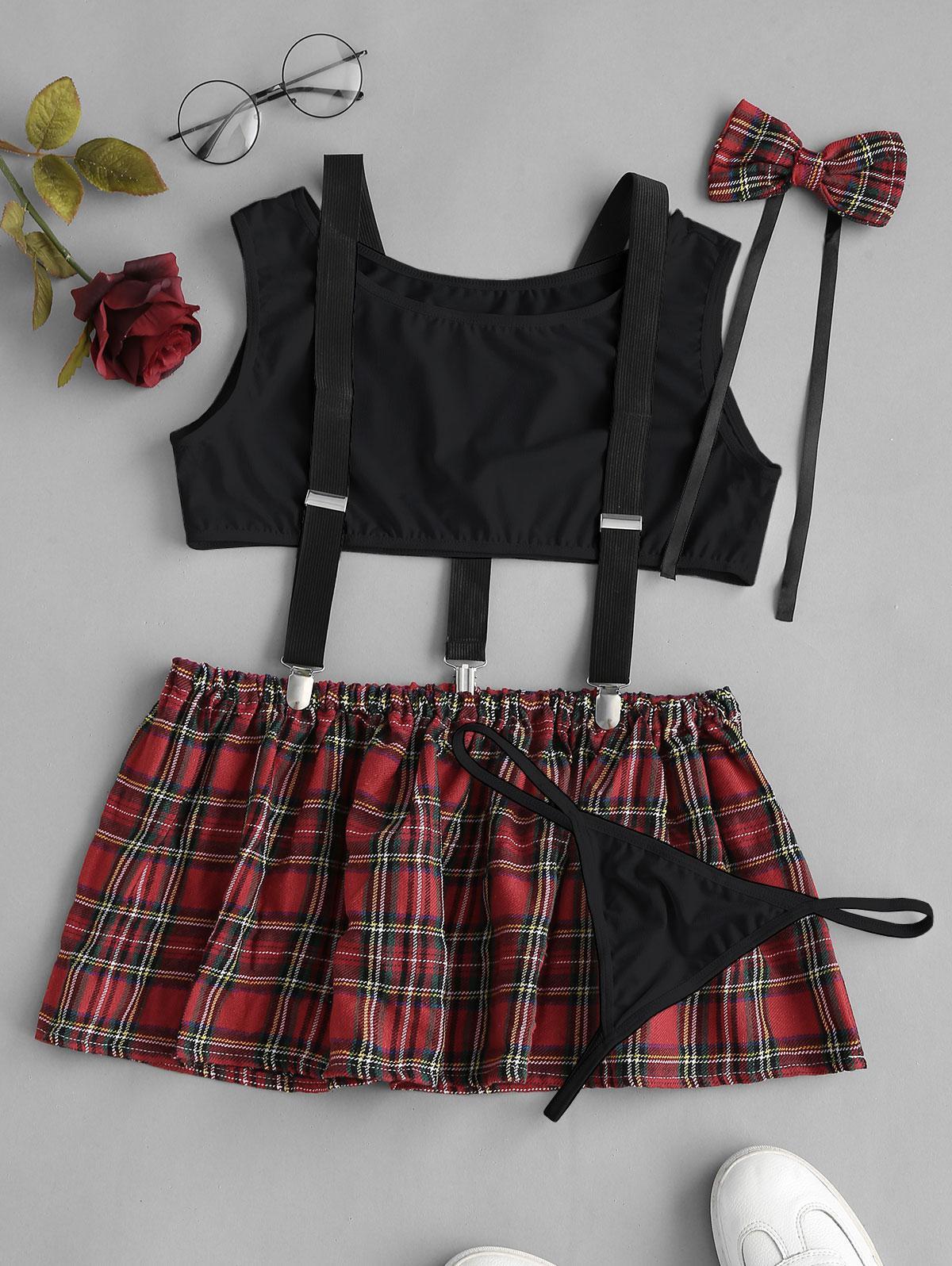 Plaid Suspender Lingerie Student Costume Set