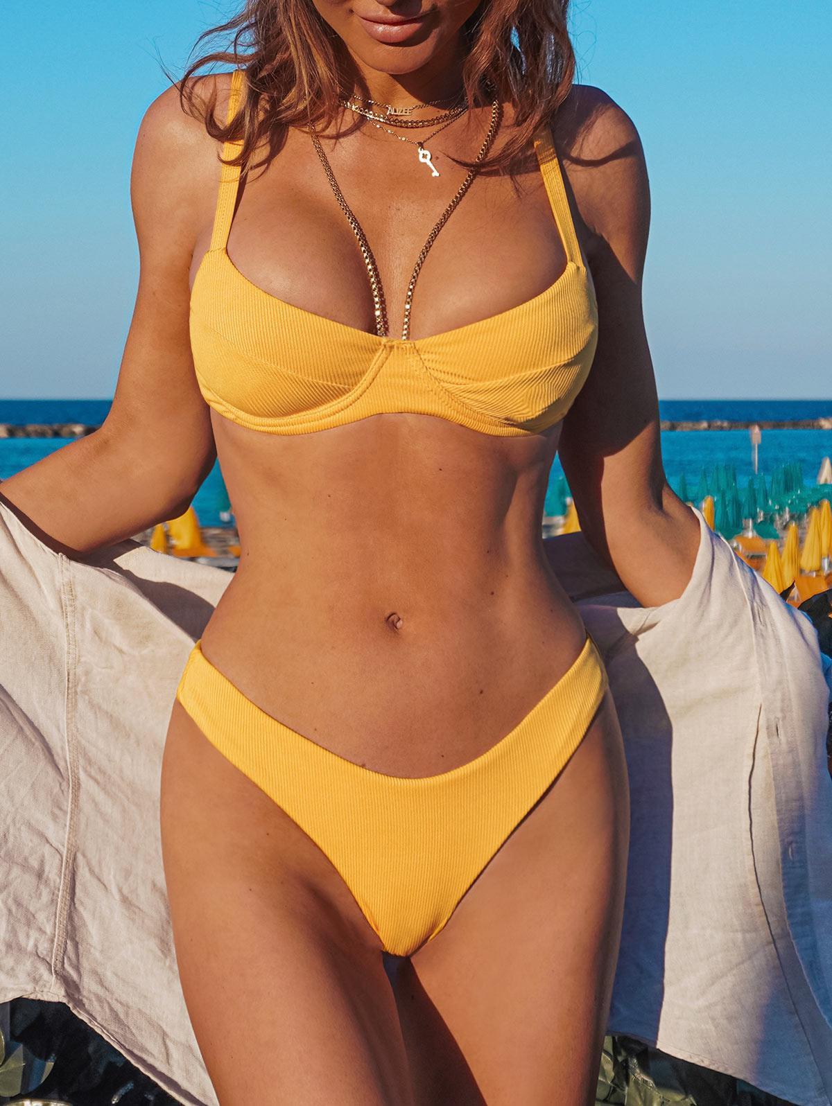 ZAFUL Underwire High Leg Ribbed Bikini Swimsuit