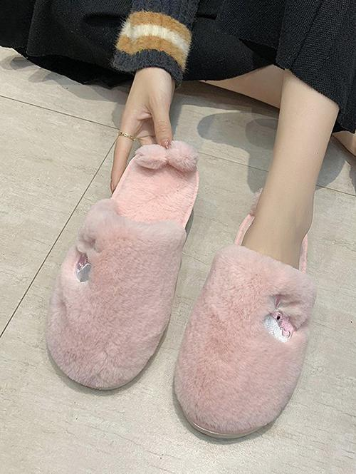 Whale Embroidery Fluffy Indoor Slippers