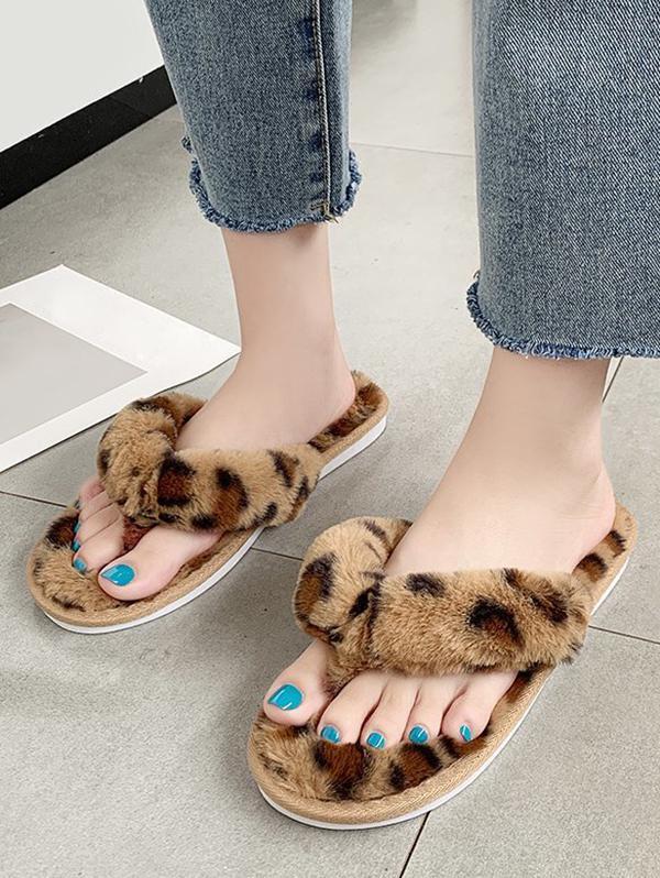 Leopard Print Faux Fur Flip Flops