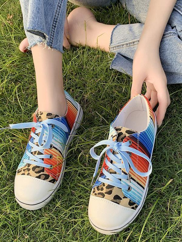 Leopard Colorful Striped Canvas Flat Shoes
