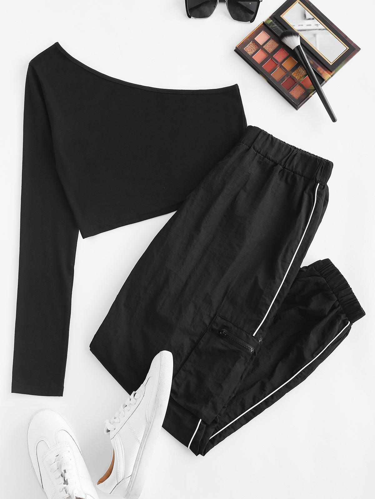 One Shoulder Top and Piping Windbreaker Pants Set