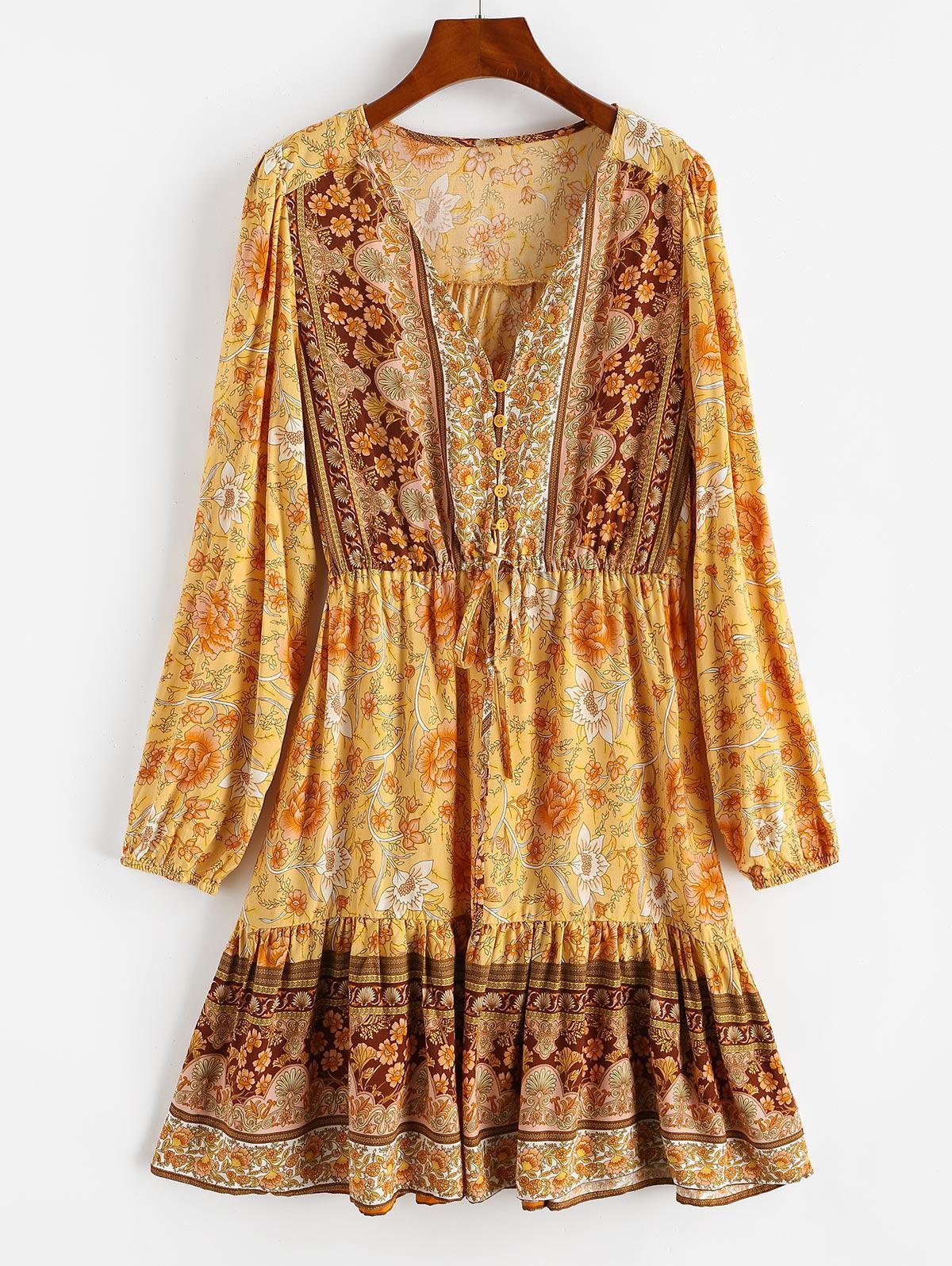 Floral Drawstring Button Loop Mini Dress