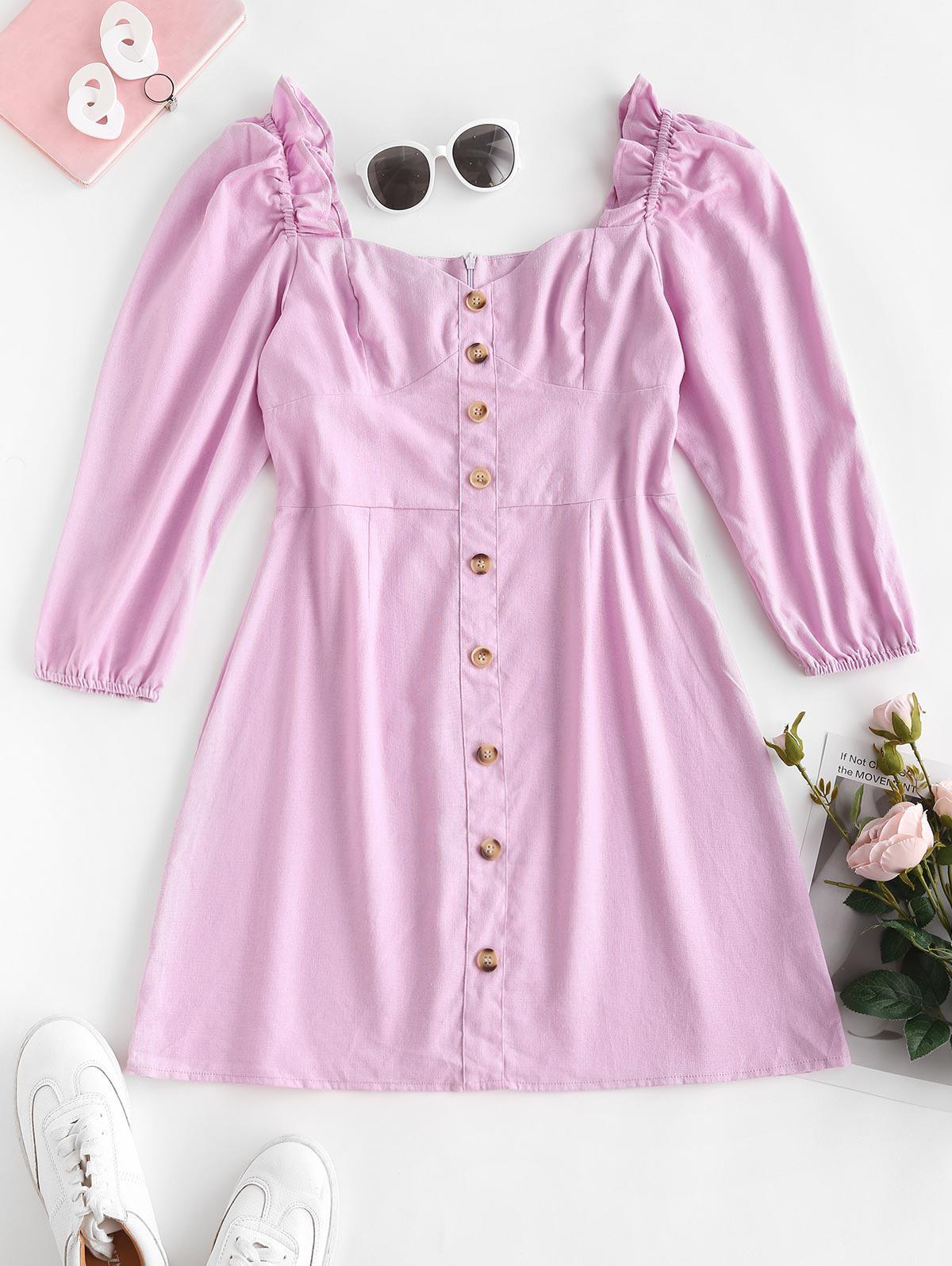 Mock Buttons Puff Sleeve Ruffled Milkmaid Dress