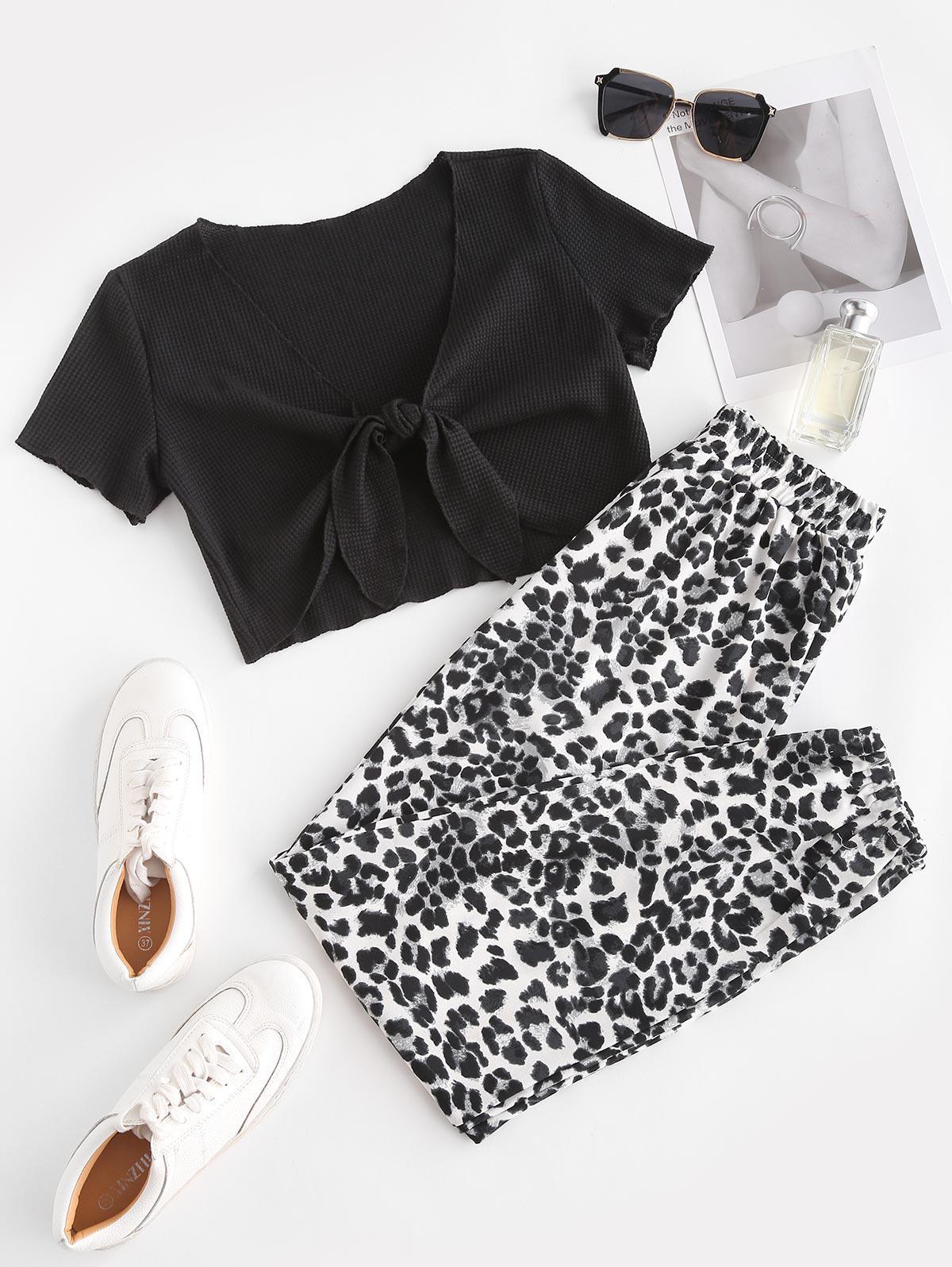 Tie Front Textured Leopard Two Piece Set