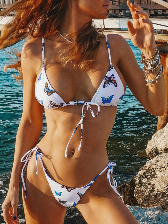 outfits ZAFUL Butterfly Print Tie String Bikini Swimwear - BLUE S