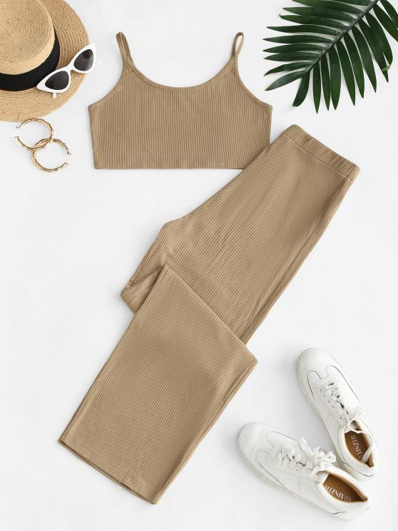 affordable Ribbed Cami Crop Top and Wide Leg Pants Set - LIGHT COFFEE S